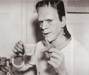 Boris Karloff on set taking a tea and toast break