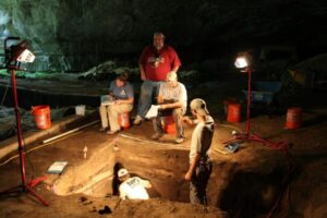 John and crew doing a little cave archaeology
